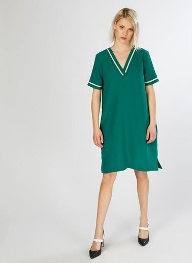 House Of Camellia Kısa Kol V Yaka Elbise Yeşil